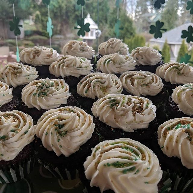 A St. Paddy's tradition since maybe 2005 or so: car bomb cupcakes. Guinness chocolate cake, Jameson custard filling and Bailey's buttercream frosting. . .