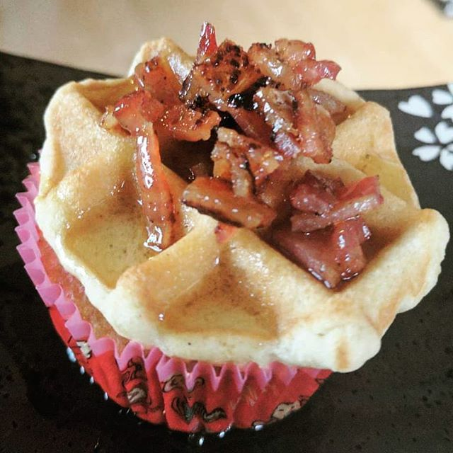 Sweet and savory brunchcake: cupcake batter, waffled with pure-maple candied bacon. . .